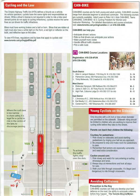 The Toronto Cycling Map Safety Tips
