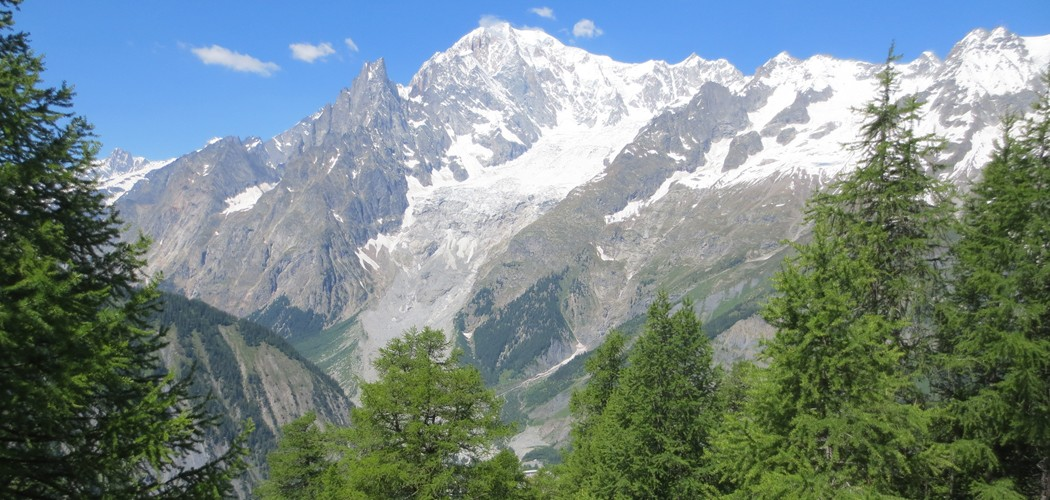 The Mont Blanc Massif from Courmayeur